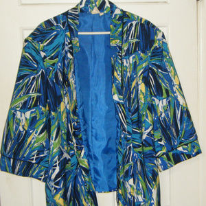 Blue Multi Colored Open Front Jacket 3X